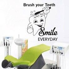 Pegatina de pared para cepillo de dientes, decoración para baño, pegatina de vinilo con sonrisa de dentista, mural para pared, oferta de calcomanías, cita de clínica dental, decalsYC3