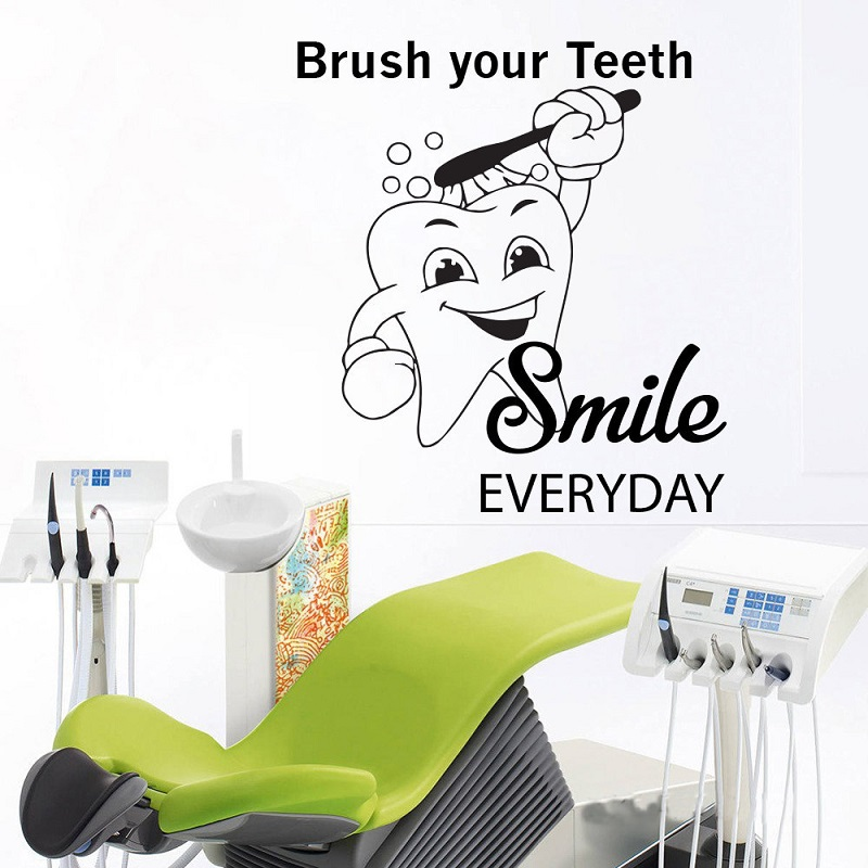Toothbrush wall sticker bathroom decoration dentist smile vinyl wall mural teeth offer decals dental clinic quote wall decalsYC3-in Wall Stickers from Home & Garden