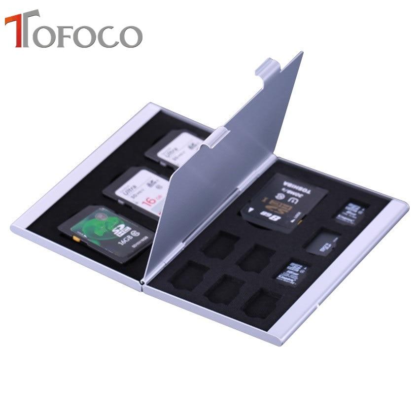 2017 TOFOCO Aluminium Alloy Micro For SD MMC TF Memory Card Storage Box Protecter Case 4x For SD Card 8 X Micro SIM Card