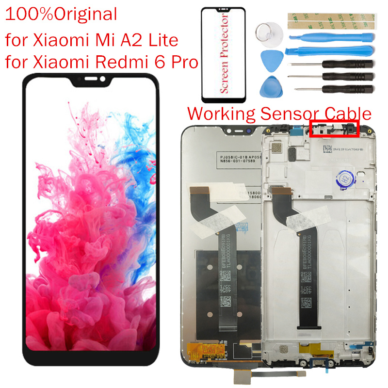 Original for Xiaomi Mi A2 Lite LCD Display Frame Screen Touch Digitizer Assembly Redmi 6 Pro