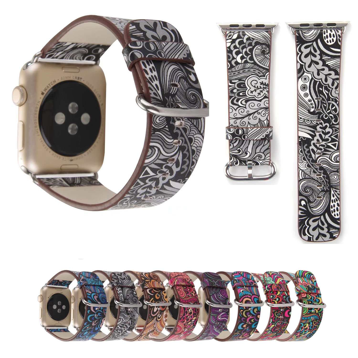 Floral Bands: Colorful Retro Floral Watch Strap For Apple Watch Band