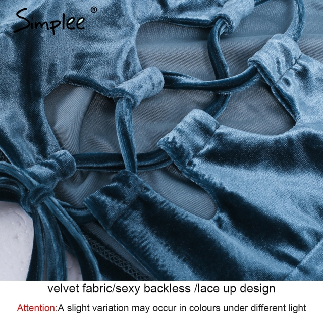 Simplee Sexy lace up crop top tees Causal velvet top camisole cropped women tank top 2017 autumn wine red cami female
