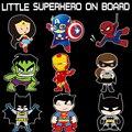 Pequeños superhéroes bebé a bordo de auto-estilo reflexivo de coche pegatinas/calcomanías para chevrolet cruze ford focus vw hyundai honda kia
