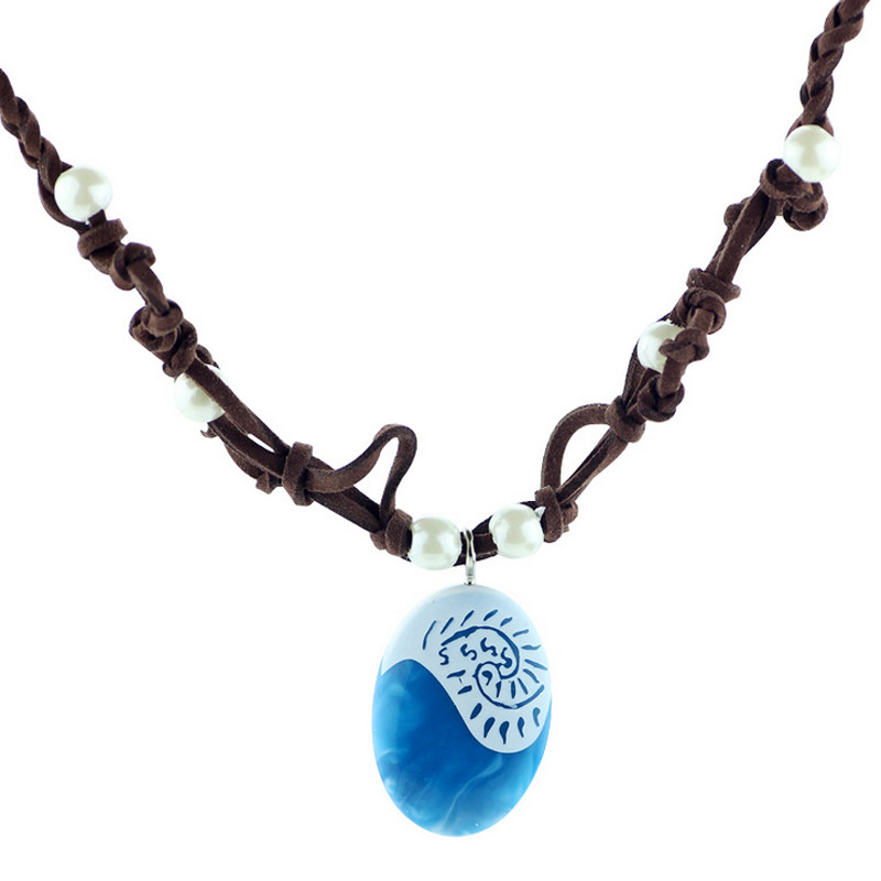 Moana Ocean romance Rope chain necklaces blue Stone necklaces & pendants necklace for women jewelry 1