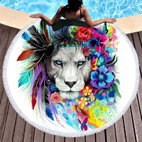 The Original Lion Vibes Printed Large Round Beach Towel Microfiber Summer Thick Blanket with Tassels Yoga Picnic Mat Bath Towels
