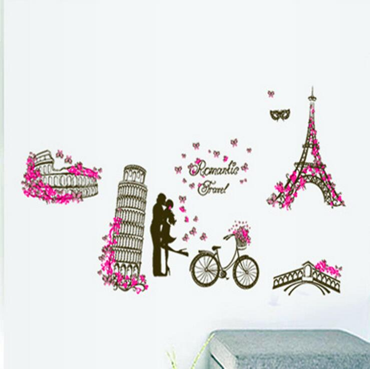 Spectacles Travel Wall Stickers Eiffel Tower Leaning Tower Of Pisa World Scene Living Room Vinyl Decoration Removable Home Decor