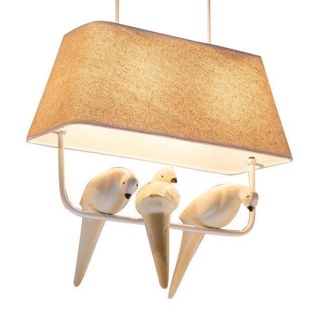 Moderni kreativni Cloth art ptica LED luster restoran, den ukras, - Unutarnja rasvjeta - Foto 3