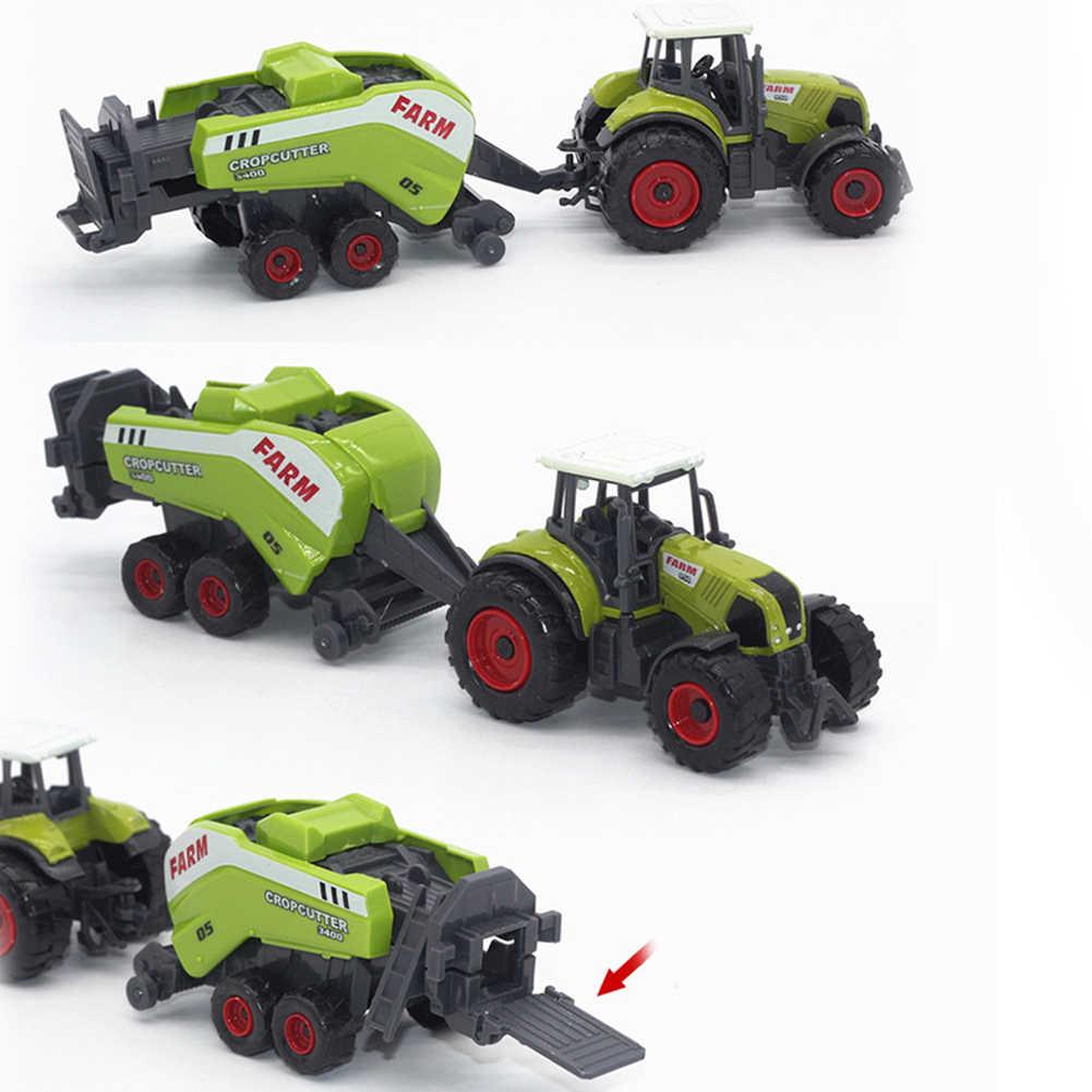 6 Pcs 1: 64 Skala Diecast Koleksi Traktor Model Trailer Ramah Lingkungan Cat Anak Hadiah Petani Kendaraan Bermain Set Logam