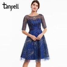 Tanpell scoop vestido de cóctel con cuentas oscuro royal blue media manga longitud de la rodilla una línea vestido de baile las mujeres del partido de coctel corto vestidos