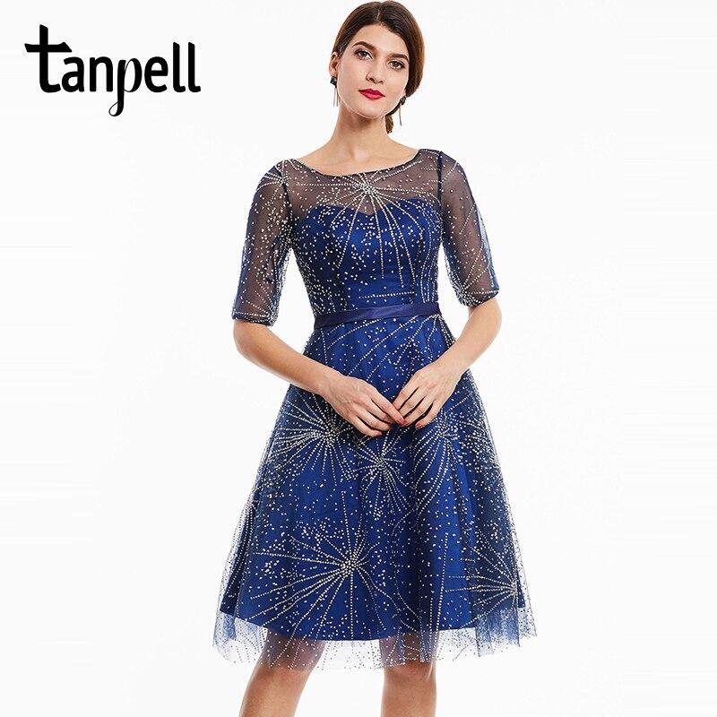 Tanpell scoop perlé robe de cocktail bleu royal foncé moitié manches  longueur au genou une ligne