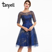 Tanpell scoop beaded cocktail dress dark royal blue half sleeves knee length a line gown women party prom short cocktail dresses