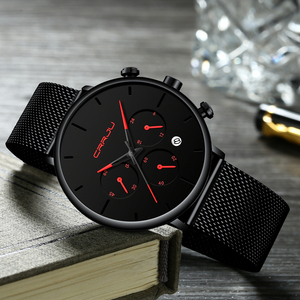 Image 4 - Relogio Masculino CRRJU Mens Business Dress Watches Luxury Casual Waterproof Sport Watch Men 3 Sub Dial Quartz Slim Mesh Watch