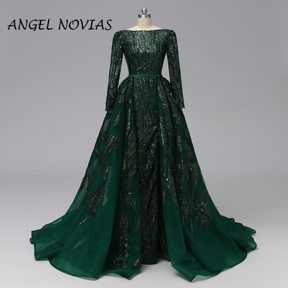 ANGEL NOVIAS Long Women Saudi Arabic Abendkleider Mermaid Lace Green Backless Evening Dresses 2019 With Detachable Skirt