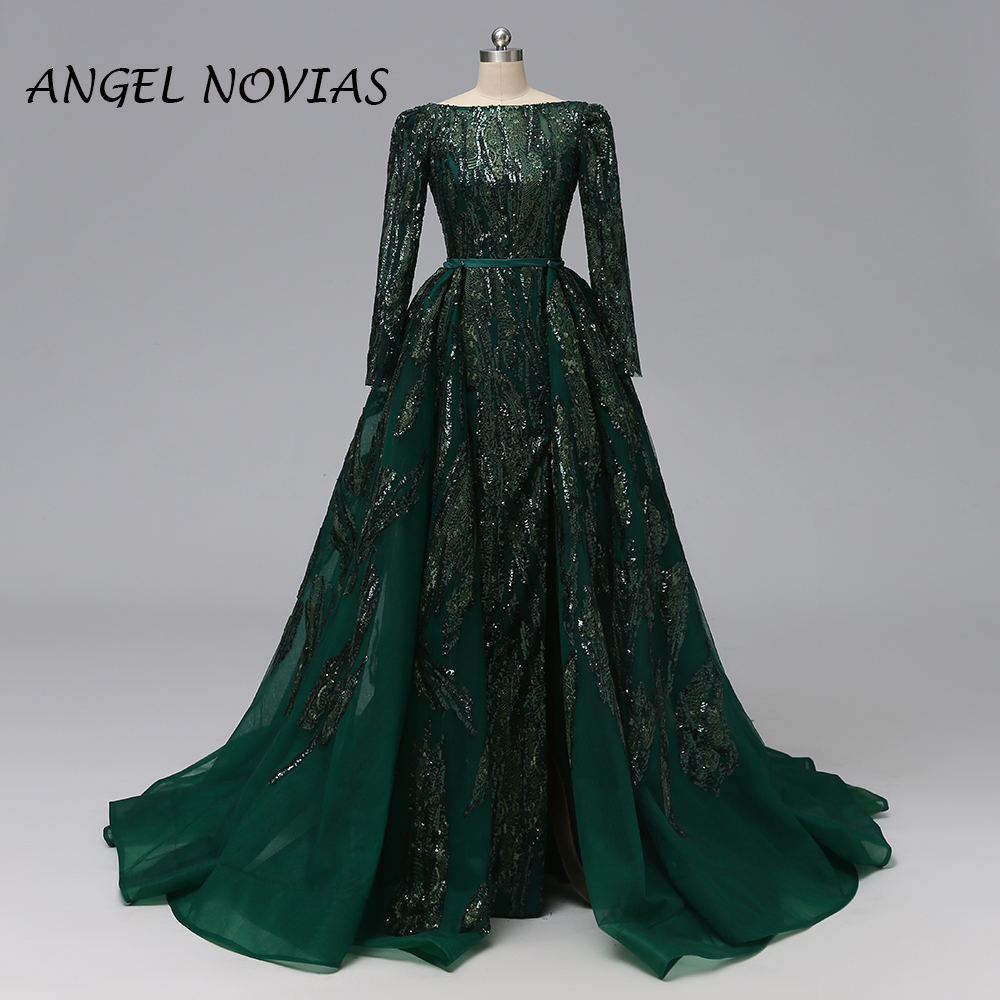 ANGEL NOVIAS Long Women Saudi Arabic Abendkleider Mermaid Lace Green Backless   Evening     Dresses   2019 with Detachable Skirt