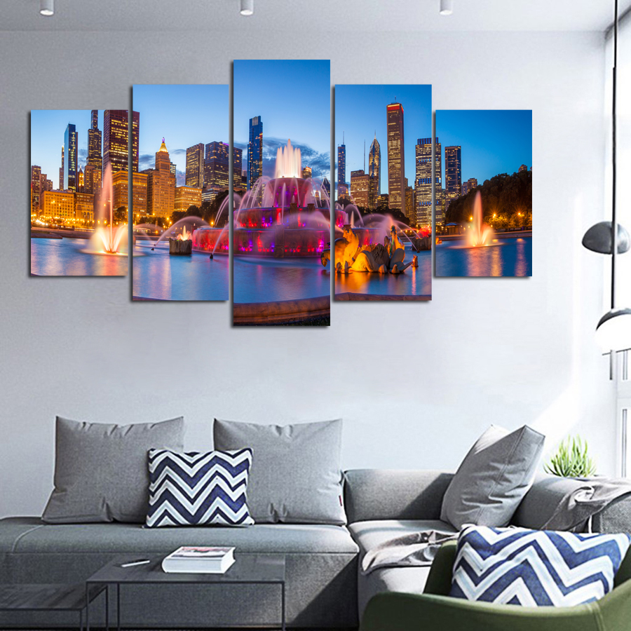 Chicago Home Decor Stores: 5 Piece Printed Canvas Painting Chicago Skyline Night