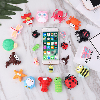 100Pcs RandomCable bite Cute Animal cable protector for iphone usb cable organizer chompers charger wire holder for iphone cable