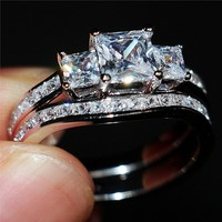 choucong Women's Fashion Square Three stone 5a Zircon Ring Set Lady 10KT White gold filled Wedding Bride Band Jewelry Size 5 10