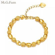 MGFam (17cm+3.5cm ) Bead Hollow Bracelets Jewelry For Sweet Women Creative Designs Pure Gold Color Allergy Free
