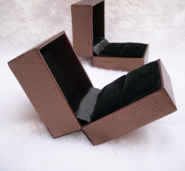 6 PCS Wholesale Lot Jewelry Gift Box Packaging Ring Box Coffee Leatherette Paper with Black Velvet Insert Jewelry Display
