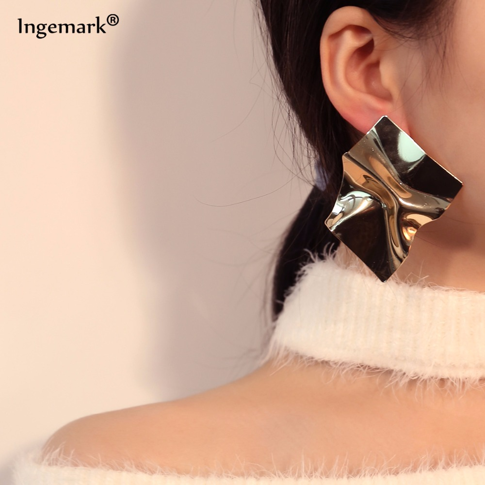 Fashion Hot Sale Punk Gold&Silver Plated Geometric Statement Metal Stud Earrings For Women New Charm Jewelry Wholesale