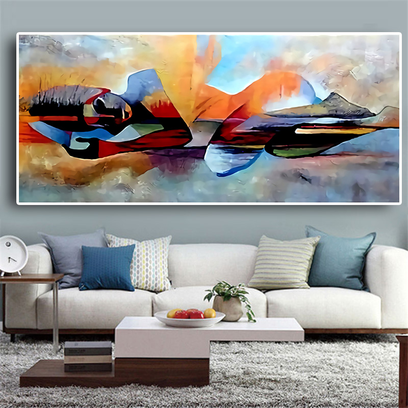 Watercolor Lord Buddha Abstract Oil Painting On Canvas Religious Posters And Prints Cuadros Wall Art Pictures For Living Room