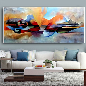 Watercolor Lord Buddha Abstract Oil Painting on Canvas Religious Posters and Prints Cuadros Wall Art Pictures For Living Room(China)