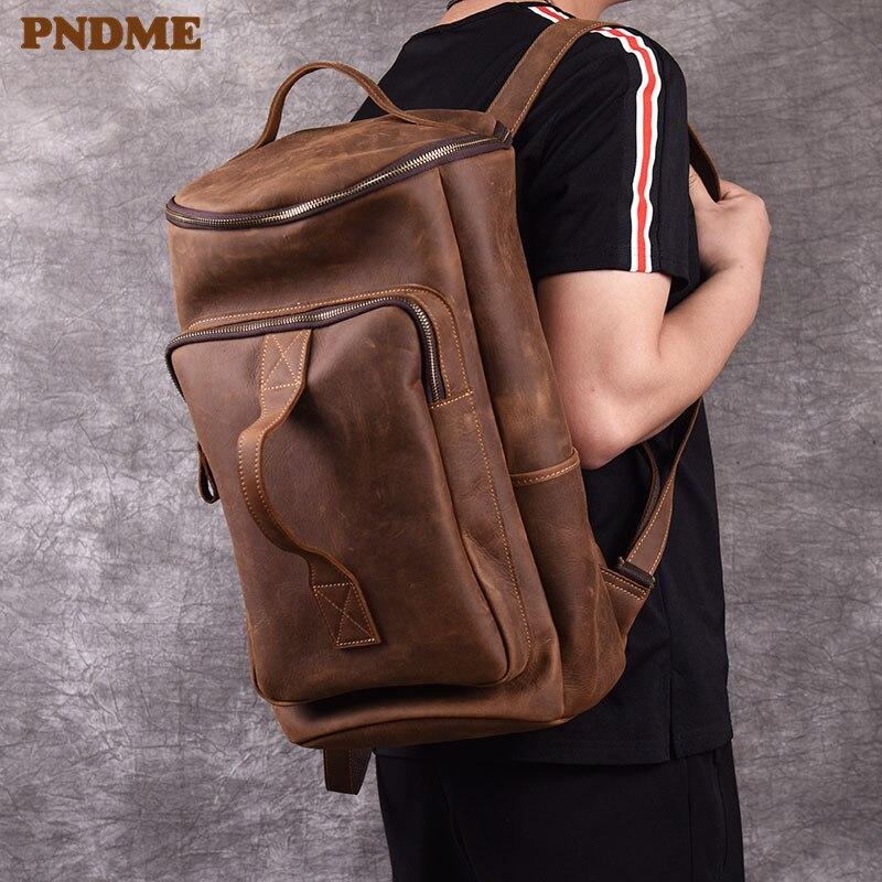 PNDME sac à dos vintage en cuir véritable pour hommes sac à dos simple en cuir de vachette de cheval fou designer grande capacité sac à dos de voyage sacs à dos de luxe