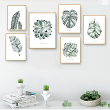 Nordic Art Green Leaves Watercolor Plants A4 Canvas Paintings Print Posters Picture Wall Home Decor Bedroom Decoration