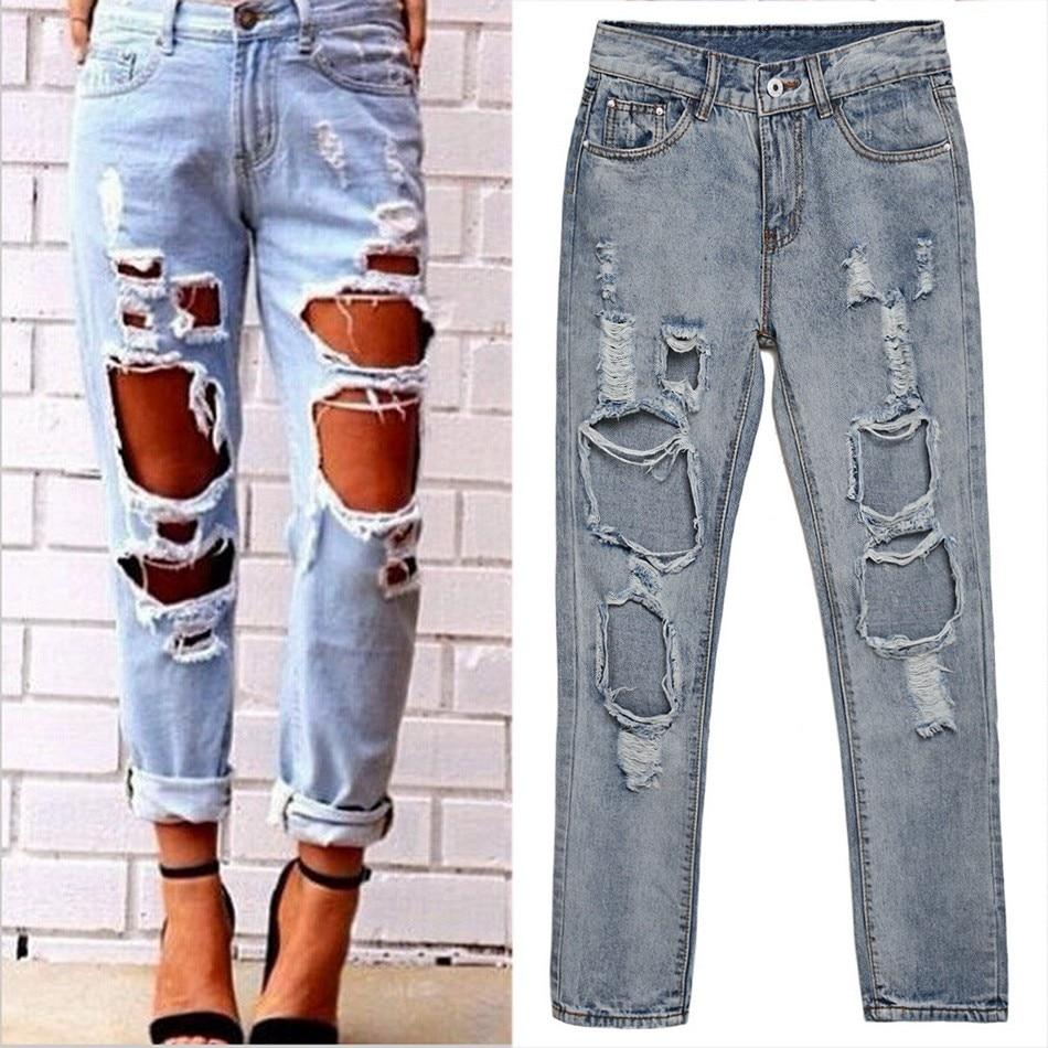 2016 Fashion Women Ladies Medium Waist Big Hole Washed Regular Denim Jeans Casual Full Length Pants