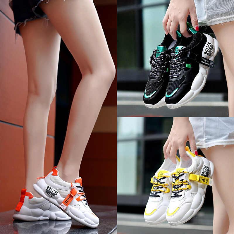HZXINLIVE Kadın Ayakkabı 2019 Sonbahar Yüksek Kaliteli PU Örgü Sarı Kadın Ayakkabı Moda Aplikler Tıknaz Ayakkabı Zapatos De Mujer