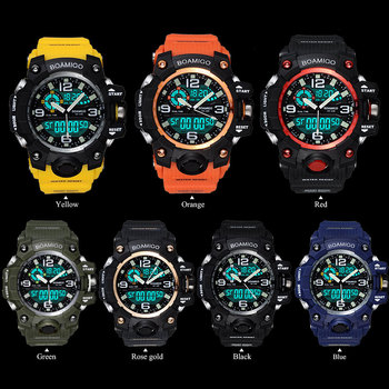 Men Sports Watches BOAMIGO Brand Digital LED Orange Shock Swim Quartz Rubber Wristwatches Waterproof Clock Relogio Masculino 5