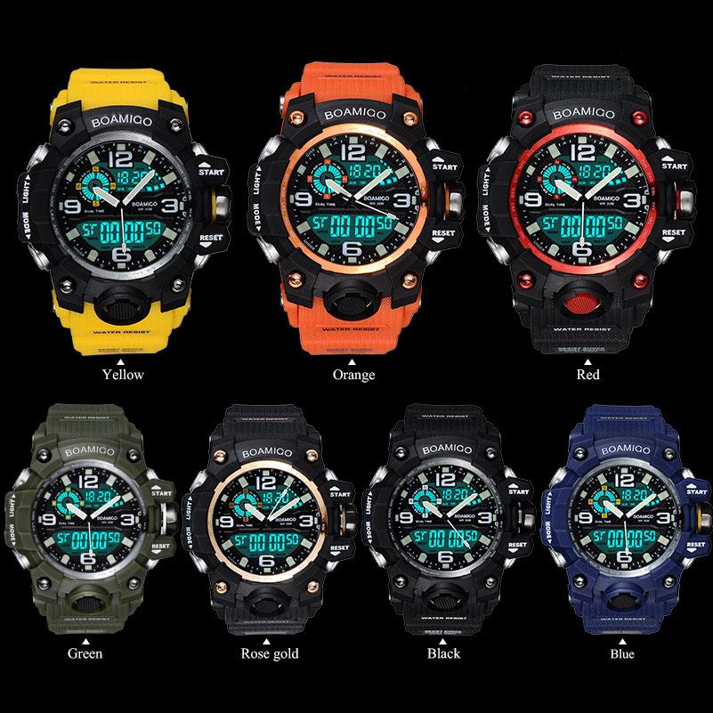 Mannen Sport Horloges BOAMIGO Merk Digitale LED Oranje Shock Swim - Herenhorloges - Foto 2