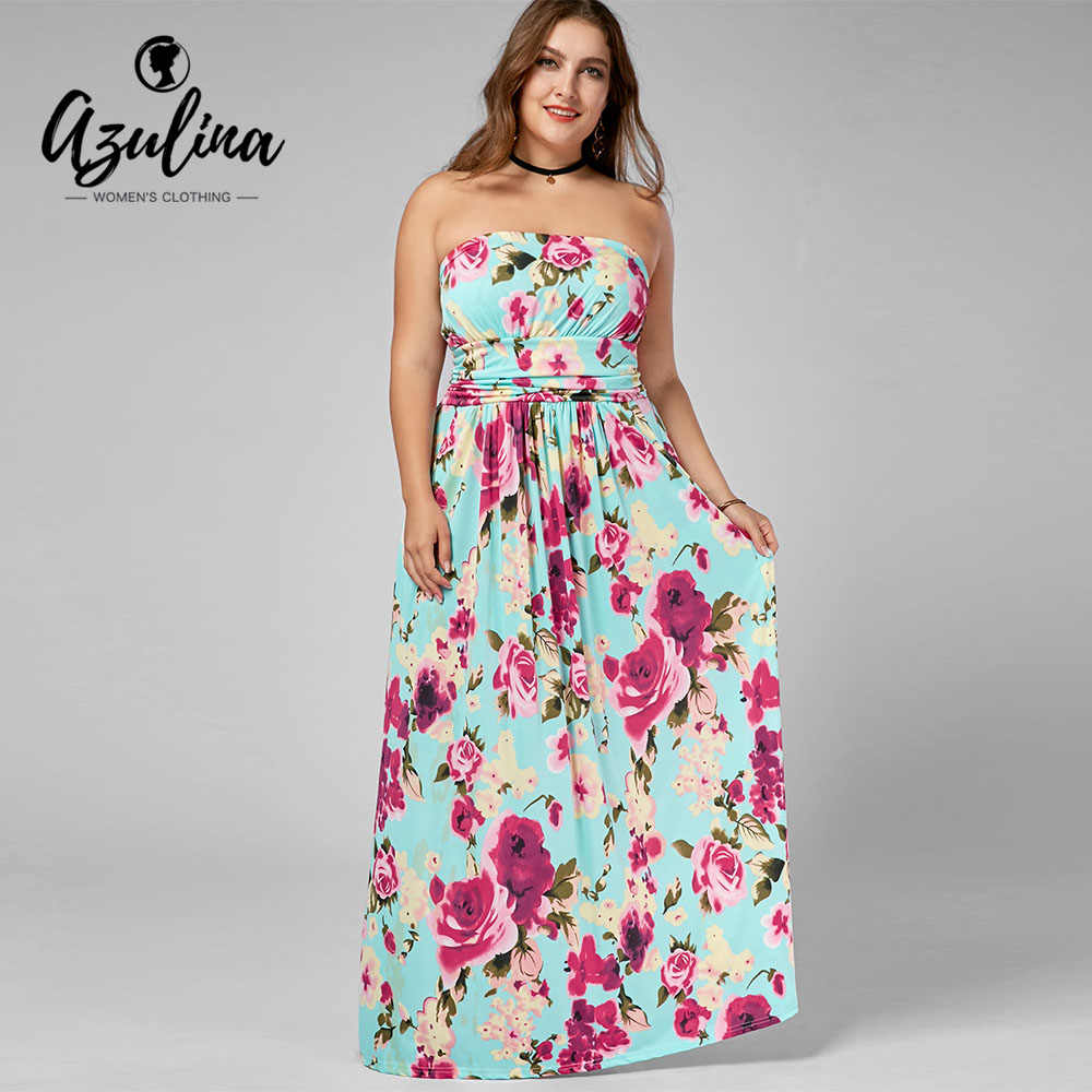 AZULINA Plus Size Strapless Floor Length Floral Dress Women Dresses Summer  Casual Boho A-Line dc1f687769fc