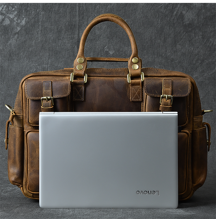 Luxury & Vintage Leather Messenger Bag laptop example