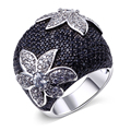 New arrivals boutique jewelry  AAA cubic zirconia stones rings for women gold plated rings fashion black ring free shipping