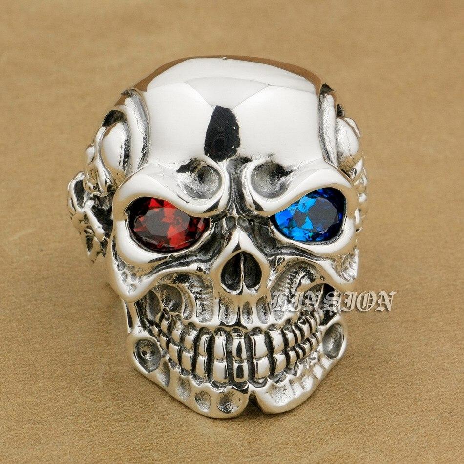 LINSION 925 Sterling Silver Titan Skull Red Blue CZ Stone Eyes Mens Biker Punk Ring sterling