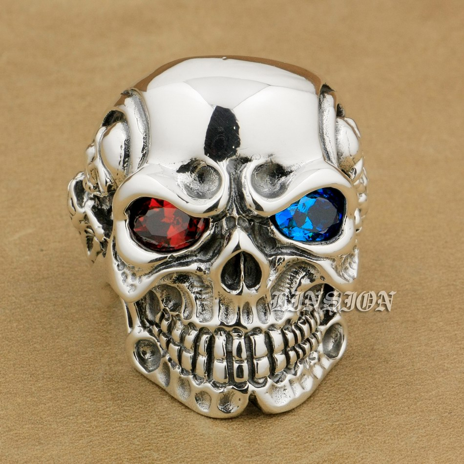 LINSION 925 Sterling Silver Titan Skull Red Blue CZ Stone Eyes Mens Biker Punk Ring sterling silver jewelry 8V805 US Size 7~15