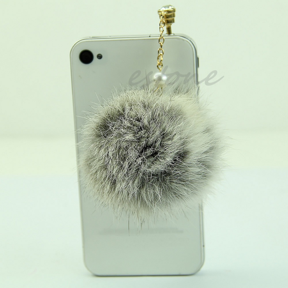 hot faux port fur hair ball anti dust earphone cover jack stopper for iphone. Black Bedroom Furniture Sets. Home Design Ideas