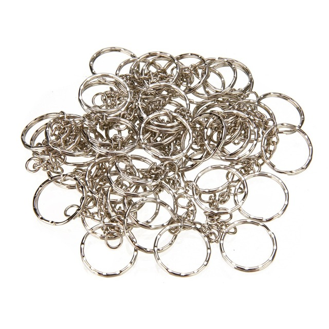 50Pcs Split Ring Keychain Key Fob Connector 4 Link Chain Key-ring Silver 55 Long
