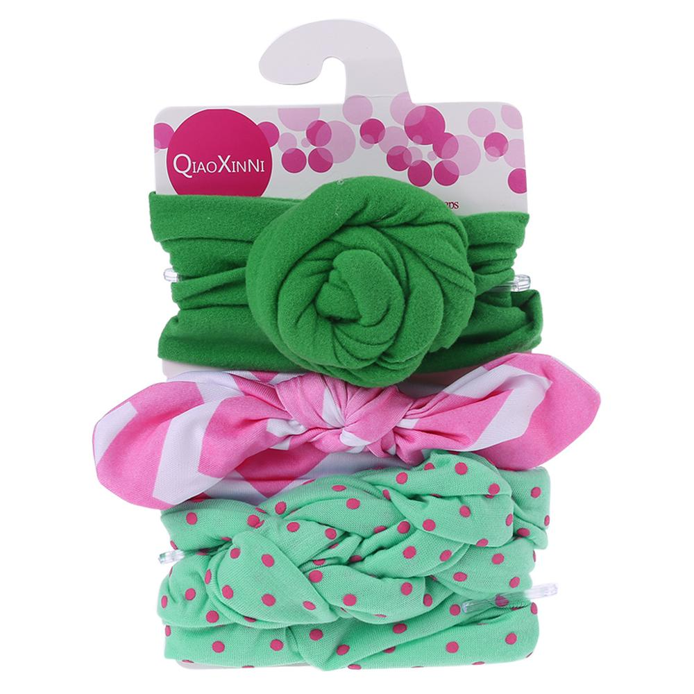3 Pcs/Set Floral Bows Baby Headband Dot Bowknot Hairband Baby Girl Headbands Cotton Kids Hair Band Girls Hair Accessories