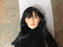 1/6   Female Head Sculpt Headplay Figure Head ModelKM-38 NP Black Hair 12