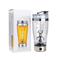 Mini 450 Ml Shaker Blender Food Mixer Water Bottle Home Battery Stainless Steel Manual Push Milk