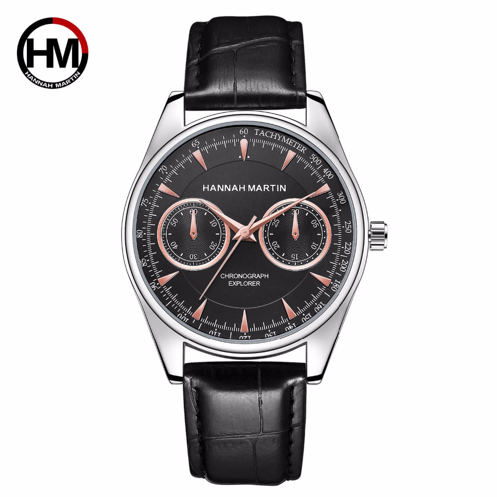 HANNAH MARTIN Pilot Watch Men Top Brand Casual Sport Military Wristwatches Mens Leather Quartz Watches Clock montre homme Gifts