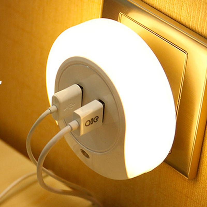 Intelligent Creative Home Bedside Double Plug LED Light Sensor USB Charger Night Light Wall Plate Lamp Fireproof Hardware