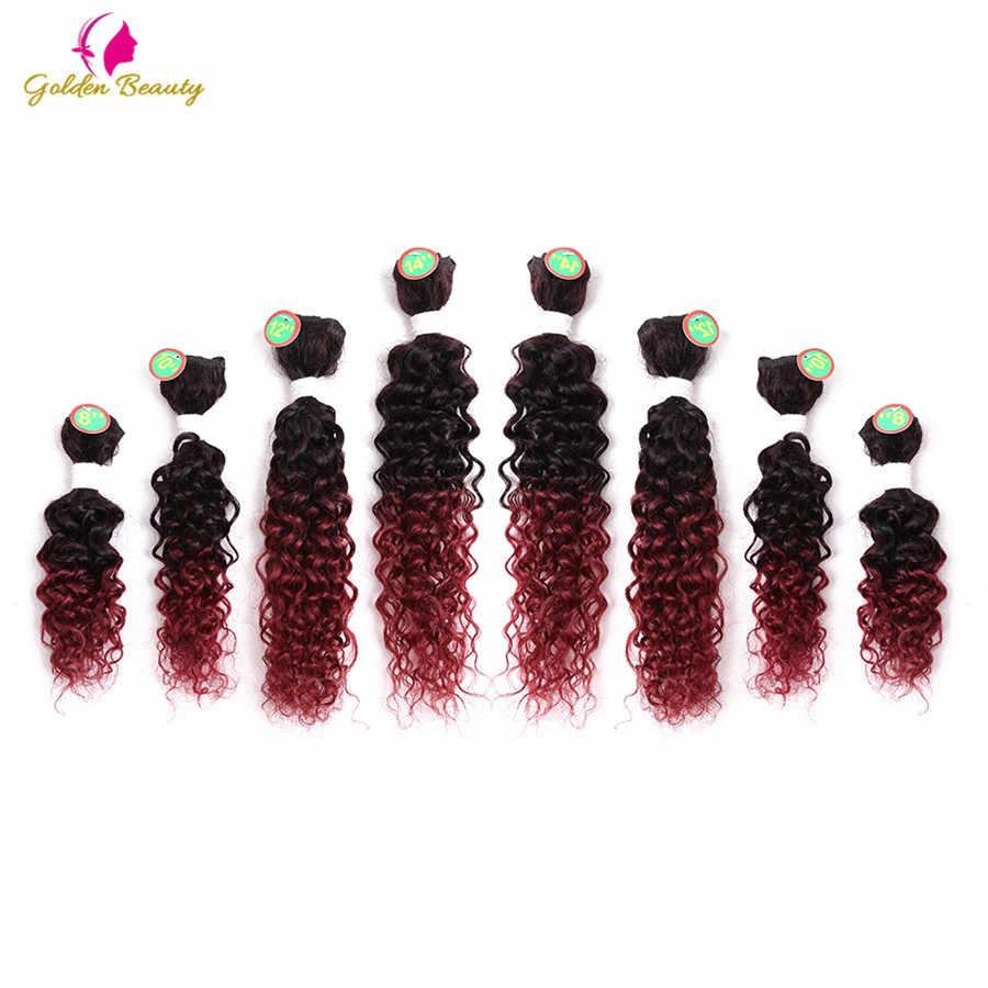Belleza dorada 8 unids/pack 8-14 pulgadas rizado coser en tejido Afro tramas de pelo sintético coser en pelo tejido extensiones para las mujeres