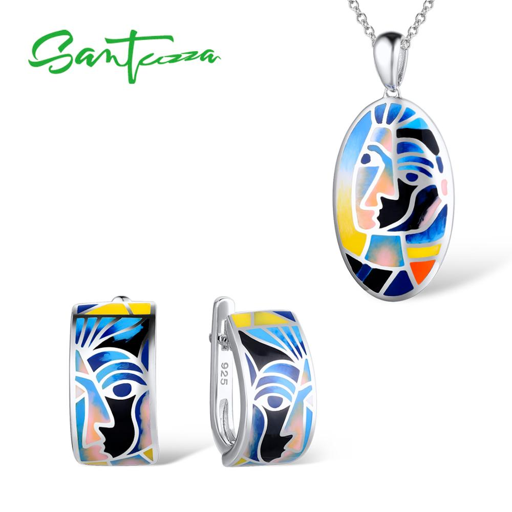 SANTUZZA Silver Jewelry Set Colorful Enamel Earrings Pendent Necklace 925 Sterling Silver Women Fashion Jewelry Set HANDMADE