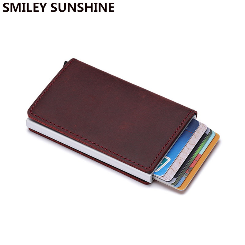 Genuine Leather Men Wallet Mini Purse Male Vintage Automatical Aluminium Rfid Card Holder Wallet Small Smart Wallet Money Bag Men's Bags