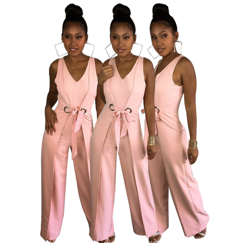 Wide Leg Jumpsuit Overalls 2018 Long Trousers Outfits Fashion Women Pink Solid Belted Sleeveless Ladies Playsuits