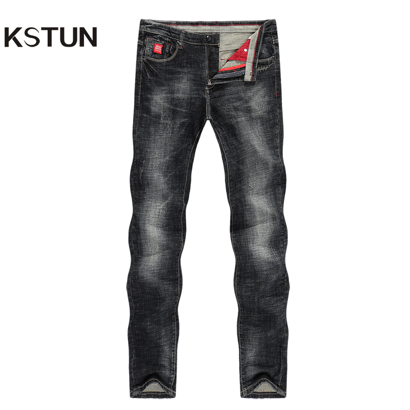 KSTUN Mens Jeans Slim Straight Elastic Casual Fashion Pockets Streetwear High Quality Men Denim Pants Jeans Hombre Big Size 40