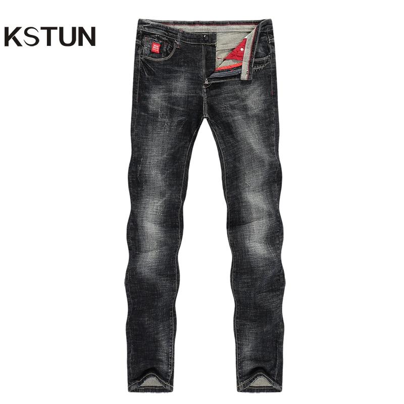 KSTUN Mens Jeans Slim Straight Elastic Casual Fashion Pockets Streetwear High Quality Men Denim Pants Jeans Hombre Big Size 40